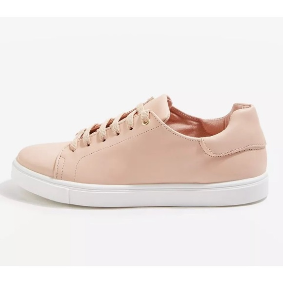 Topshop Cluster Lace Up Sneaker Shoes Nude Pink NWT